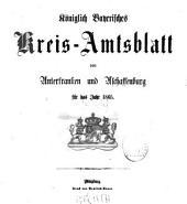 Königlich-bayerisches Kreis-Amtsblatt von Unterfranken und Aschaffenburg: für d. Jahr ... 1865