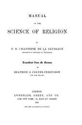 Manual of the Science of Religion: Part 1