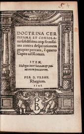 Doctrina certissima et consolatio solidissima ... contra desperationem propter peccata
