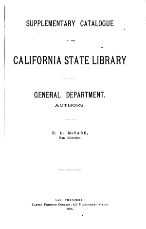 Supplementary Catalogue of the California State Library  General Department PDF