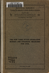 The New York State Legislative Budget and Financial Measures for 1918