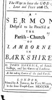 The Ways to Have the God of Love and Peace with Us  A Sermon Design d to be Preach d at the Parish church of Lambourne in Barkshire  By John Morrice      PDF