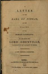 A Letter to the Earl of Fingal on the Claims of the Roman Catholics