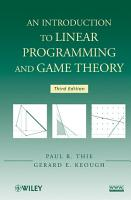 An Introduction to Linear Programming and Game Theory PDF