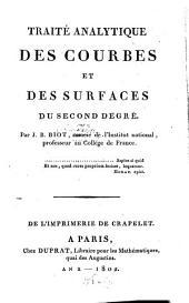 Traité analytique des courbes et des surfaces du second degré