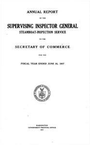 Annual Report of the Supervising Inspector General  Steamboat Inspection Service to the Secretary of Commerce PDF