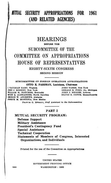 Mutual Security Appropriations for 1961  and Related Agencies  PDF