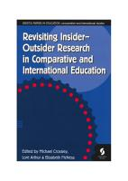 Revisiting Insider Outsider Research in Comparative and International Education PDF