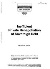 Inefficient Private Renegotiation of Sovereign Debt