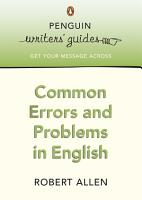 Common Errors and Problems in English PDF