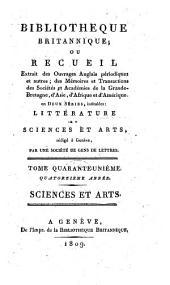 Bibliotheque britannique, ou recueil extrait des ouvrages anglais périodiques et autres..: Sciences et arts, Volume46