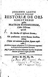 Historia de origine ... Fratrum Bohemicorum: Liber VIII.