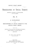 A Catalogue of the Bibliographies of Special Subjects in the Boston Public Library PDF