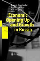 Economic Opening Up and Growth in Russia PDF