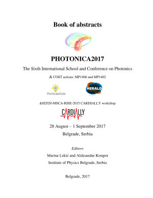 Book of abstracts PHOTONICA2017 The Sixth International School and Conference on Photonics & COST actions: MP1406 and MP1402 &H2020-MSCA-RISE-2015 CARDIALLY workshop