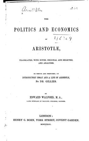 The Politics and Economics of Aristotle PDF
