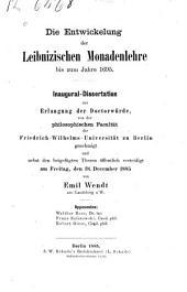 Die Entwickelung der Leibnizischen Monadenlehre bis zum Jahre 1695