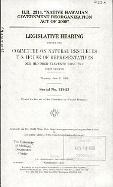 H R  2314   Native Hawaiian Government Reorganization Act of 2009  PDF