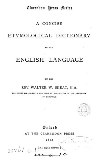 A Concise Etymological Dictionary of the English Language PDF