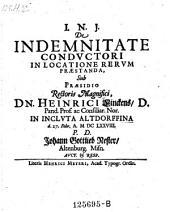De indemnitate conductori in locatione rerum praestanda. - Altdorfii, Meyer 1678