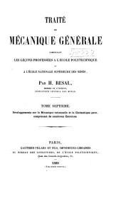 Traité de mécanique générale: Développements sur la mécanique rationelle et la cinématique pure, comprenant de nombreux exercices