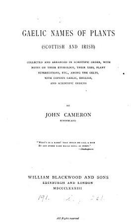 Gaelic names of plants  Scottish and Irish  with notes PDF