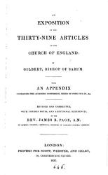 An Exposition Of The Thirty Nine Articles Of The Church Of England With Notes By J R Page Book PDF