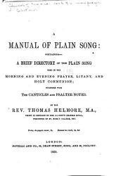 A Manual Of Plain Song Book PDF