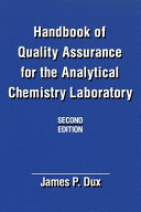 Handbook of Quality Assurance for the Analytical Chemistry Laboratory PDF