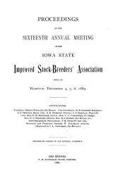 Annual Meeting of the Iowa Improved Stock Breeders' Association: Volume 16