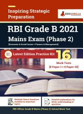 RBI Grade B Mains Exam  Phase 2  2021   Preparation Kit of 16 Mock Tests  8 Paper I   8 Paper III  PDF