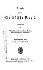 Archiv für die civilistische Praxis: Band 64