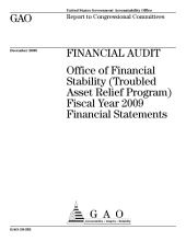 Financial Audit: Office of Financial Stability (Troubled Asset Relief Program) Fiscal Year 2009 Financial Statements