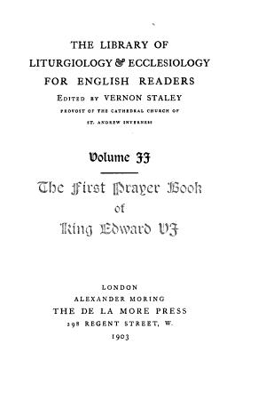 The First Prayer book of King Edward VI  1549 PDF