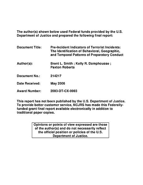 Download Pre Incident Indicators of Terrorist Incidents Book