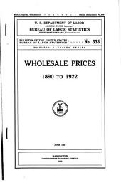 Wholesale prices, 1890 to 1922