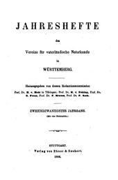 Jahreshefte des Vereins für Vaterländische Naturkunde in Württemberg: zugl. Jahrbuch d. Staatlichen Museums für Naturkunde in Stuttgart, Band 22