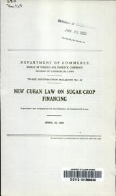 New Cuban law on sugar-crop financing