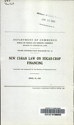 New Cuban Law on Sugar crop Financing PDF
