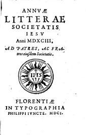Annuae litterae Societatis Iesu anni 1593. Ad patres, ac fratres eiusdem Societatis