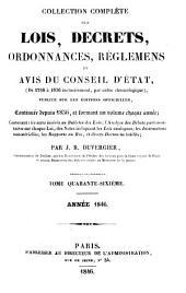 Collection complète des lois, décrets d'intérêe général, traités internationaux, arrêtés, circulaires, instructions, etc: Volume46
