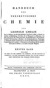 Handbuch der theoretischen chemie: Band 1,Ausgabe 1