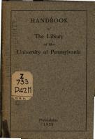 Handbook of the Library of the University of Pennsylvania PDF