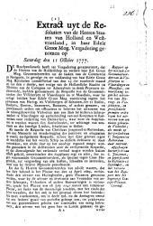 Rapport op het versoek der gecommitteerden van de visscheryen te Vlaardingen en Maassluis, om voorsiening tegen het uitvoeren van haring- en visscheepen [...]. 11 october 1777