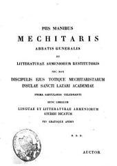 Brevis linguae armenicae grammatica, litteratura, chrestomathia cum glossario