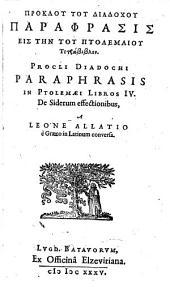 Paraphrasis in quatuor Ptolemaei libros de siderum effectionibus