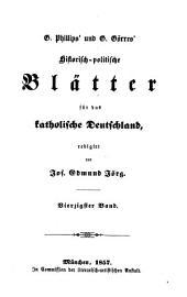 Historisch-politische Blätter für das katholische Deutschland: Band 40