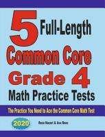 5 Full Length Common Core Grade 4 Math Practice Tests PDF