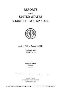 Reports of the U S  Board of Tax Appeals PDF