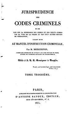 Iurisprudence des Codes criminels PDF